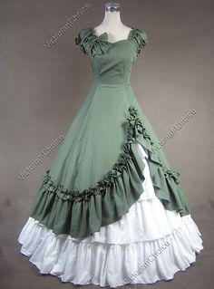 Unique, Elegant Designer Green and White Sweetheart Cotton Victorian Dress for Full Selection of gothic victorian lolita dresses, Tailor Made, Fast Shipping. Buy Green and White Sweetheart Cotton Victorian Dress Now! 1800s Dresses, Indian Gowns Dresses, Old Dresses, Ball Gown Dresses, Pretty Dresses, Beautiful Dresses, Vintage Dresses, Vintage Outfits, Dress Up