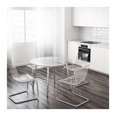 SALMI Table Glass/chrome-plated 105 cm - IKEA