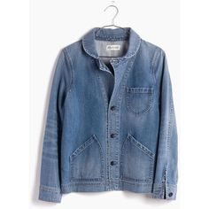 MADEWELL Joshua Tree Jean Jacket in Rossie Wash ($100) ❤ liked on Polyvore featuring outerwear, jackets, coats & jackets, rossie wash, madewell jacket, vintage jackets, workwear jacket, denim jackets and jean jacket