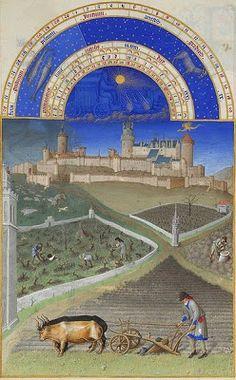"""MARÇO - Iluminura do """"Livro de Horas do Duque de Berry"""" (Século XV) manuscrito com iluminuras dos irmãos Paul, Jean et Herman de Limbourg, conservado no Museu Condé, em Chantilly, na França. Na iluminura estão representados trabalhos agrícolas. No segundo plano, à direita, um camponês dobrado sobre um taleigo, retira daí sementes, que de seguida irá semear. Ainda no segundo plano à esquerda, um camponês que poda a vinha, tem junto a si, no chão, uma enxada, um chapéu e um taleigo."""