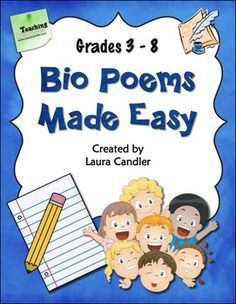 FREE Bio Poems Made Easy -You can have students write Bio Poems about themselves, famous historical figures or book characters. This lesson includes directions, a graphic organizer, a template, an example bio poem. Teaching Poetry, Teaching Language Arts, Teaching Writing, Writing Activities, Writing A Bio, Teaching Resources, Writing Poetry, Teaching Ideas, School Resources