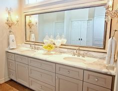 Bathroom Vanity in a dove grey - cream on the walls and everywhere else for a clean and sophisticated space