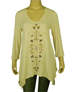 131563 New Caite Floral Embroidered Asymmetrical Beige Tunic Top Large L