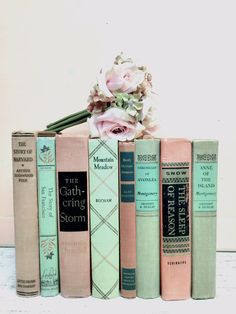BLUSH PINK and MINT ~ Books for Wedding by beachbabyblues, $185.00