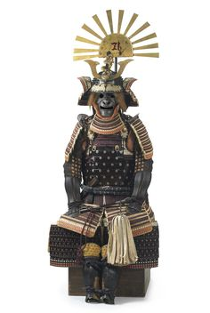 Myōchin Munemasa, Nimaidō tōsei gusoku armor with Tokugawa crest, completed by 1749. Iron, silver, gold, shakudō, leather, silk, wool, and lacquer. Dating to the 1740s, this remarkably intact suit of armor was made for a high-ranking samurai in the Tokugawa family, the warrior clan that ruled Japan from 1603 to 1868. -Portland Art Museum-