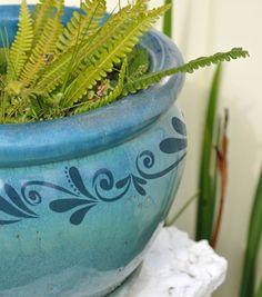 Painted Flourish Flower Pot
