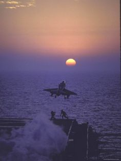 A4D Skyhawk Taking Off From USS Independence at Sunrise over Mediterranean Sea    by John Dominis