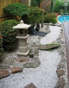 Your Guide to the Design of a Japanese Garden, Rocky Zen to Tranquil Tea. What Japanese garden plants,ornaments and Lanterns to use. Plan a Japanese Garden suited to your location, needs and spirit. Garden Shrubs, Garden Landscaping, Japanese Garden Style, Japanese Gardens, Japanese Garden Backyard, Big Backyard, Garden Pool, Shade Garden, Zen Garden Design