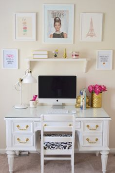 See my office transformation from a plain, boring office to a chic, bright, inspirational place to work! A desk and chair painted with Annie Sloan white chalk paint, Minted framed prints, office accessories, an Ikea lamp & an iMac. @Minted #mintedart