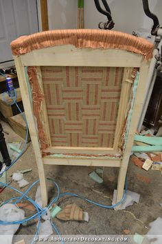 DIY wingback dining chair - how to upholster the frame - 63