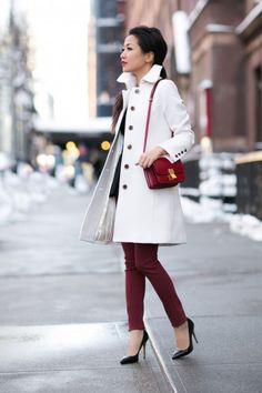 white coat + black peplum + burgundy pants + red bag + black pumps
