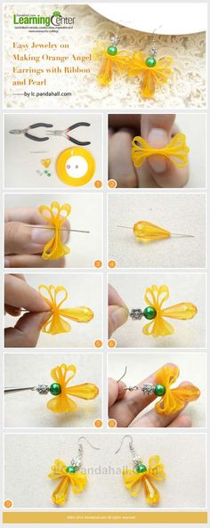 DIY Earrings and Homemade Jewelry Projects - Orange Angel Earrings with Ribbon and Pearl - Easy Studs, Ideas with Beads, Dangle Earring Tutorials, Wire, Feather, Simple Boho, Handmade Earring Cuff, Hoops and Cute Ideas for Teens and Adults http://diyprojectsforteens.com/diy-earrings