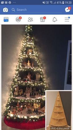 Perfect non-tree Christmas decorative idea! Wooden Xmas Trees, Small Christmas Trees, Diy Christmas Ornaments, Rustic Christmas, Christmas Projects, Holiday Crafts, Christmas Holidays, Holiday Decor, Christmas Stuff