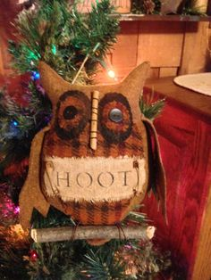 Primitive Wool Owl Ornie by KelsCountryBlessings on Etsy