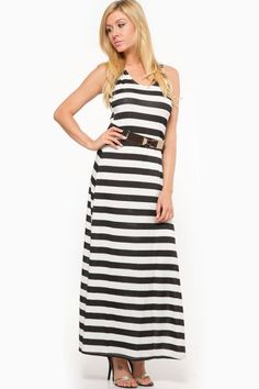 cbafa06c3f Black and White Stripe Maxi Dress Business Casual Dresses