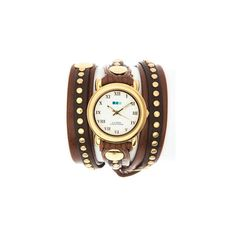 New Arrivals - La Mer Bali Brown Gold Stud Wrap Watch ($115) ❤ liked on Polyvore featuring jewelry, watches, accessories, bracelets, relogios, brown jewelry, brown wrap watch, brown watches, la mer jewelry and wrap watch