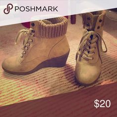 Wedge boots Wedge heel, tan color, used but in good condition,  some scuffs Report Shoes Ankle Boots & Booties