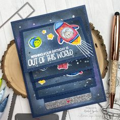 Out of This World Mega Flipper (Mama Elephant) Mama Elephant Stamps, Bee Creative, Slider Cards, Boy Cards, Cardmaking And Papercraft, Interactive Cards, Elephant Design, Card Maker, Clear Stamps
