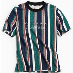 Shop the collection of men's Guess clothing at Urban Outfitters. Find Guess jeans, jackets, shoes, and more for classic pieces to complete any outfit. Guess Shirt, Guess Jeans, Streetwear, Camisa Guess, Guess Clothing, Striped Tee, Mens Clothing Styles, Pull, Menswear