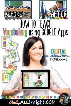 How to Build Vocabulary Lessons Using Digital Interactive Notebooks - Study All Knight Vocabulary Instruction, Teaching Vocabulary, Vocabulary Activities, Teaching Reading, Vocabulary Building, Vocabulary Word Walls, Academic Vocabulary, Spanish Activities, Teaching Ideas