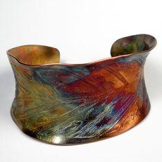 Hammered and Etched Copper Cuff-A Rustic Copper Cuff Bracelet, Leaf Design With A Colorful Heat Patina- Autumn. $149.00, via Etsy.