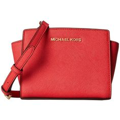 MICHAEL Michael Kors Selma Mini Messenger (11.045 RUB) found on Polyvore featuring bags, messenger bags, red mini bag, mini messenger bag, red bag, mini bags and red messenger bag