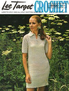 Crochet PAttern 60s shift Dress lacy yoke retro Vintage