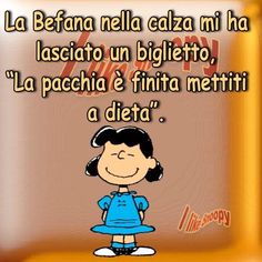 me lo ha detto la befana:) Lucy Van Pelt, Live Love, New Years Eve Party, Charlie Brown, Improve Yourself, Funny Pictures, Smile, Comics, Sayings