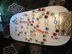Candyland board made with different colored jello shots and shooters (redbull with vodka) so much fun!