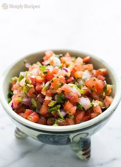 Fresh Tomato Salsa (Pico de Gallo) ~ Mexican salsa recipe made with chopped fresh tomatoes, jalapeno or serano chiles, red onion, cilantro, and lime.  Also called Pico de Gallo or Salsa Fresca. ~ SimplyRecipes.com