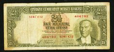 1939 Turkey Central Bank Series C12 Two and Half Liras Kamal Ataturk Pick Number 126 Nice Fine or Better Banknote