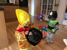 My twins love a spot of fancy dress, introducing policeman buzz lightyear and the Teletubbie rescuing fireman :)