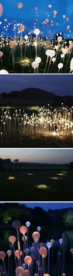 This piece is Field of Light by Bruce Munro that was displayed in Cornwall, England from November 2008-March 2009. Its such a beautiful yet simple piece that seems almost fantasy-like in the dark field! It was an attraction for many when it was on display, and could be put on display again in the future.