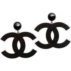 VINTAGE CHANEL LARGE BLACK CC DANGLING EARRINGS ❤ liked on Polyvore featuring jewelry, earrings, long earrings and dangle earrings