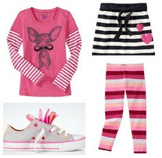 Graphic stripe outfit for girls. (PS pin your own favorites and you could win $ 1,000 from Old Navy! details when you click.)