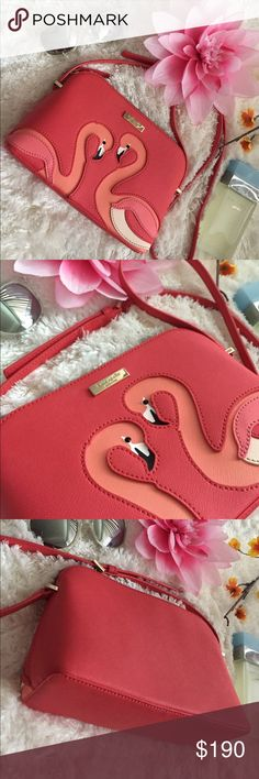 🌸OFFERS?🌸Kate Spade Flamingo All Leather Crssbdy 🌷Authentic🌷Great condition. Show minimal sign of use outside, inside can be cleaned. All parts intact and functional. Features adjustable crossbody strap, zip top to close and one open pocket inside. Great for fun trips or travel or just an everyday go to bag. For size reference fits an ipad mini. Don't be shy to make an offer💕 kate spade Bags Crossbody Bags