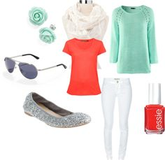 """""""spring mint and coral"""" by meg-c-bailey on Polyvore"""