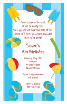 Water Splash Fun Birthday Party Invitation Boy Or Girl Guns Balloons Pool