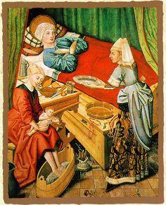 Master of the Eggelsberger Altar. Birth of Mary. Oil on Panel, German 1481. Schlossmuseum, Linz. Photo: Institut für Realienkunde, Krems. Medieval Woman.