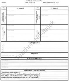 I made this whole group lesson plan template to include for Singapore math lesson plan template