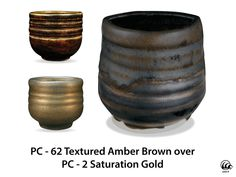 AMACO Potter's Choice Glaze  layering. PC-62 Textured Amber Brown over PC-2 Saturation Gold