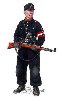 HITLERJUGEND - Kameradschaft-Führer (capo distaccamento di 10 15 ragazzi della Hitlerjugend) della Allgemeine HJ Bann-158, Berlín, Abril-Mayo 1945. Arnold Bulczynki