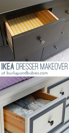 This Hemnes IKEA dresser makeover has been made over from boring black to fresh white with a little extra to help makeover a little girl's nursery. Come check it out!