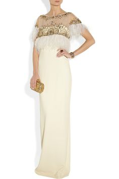Marchesa | Embellished silk-crepe gown | Trimmed with white feathers and sprinkled with glistening beads and crystals, Marchesa's cream silk-crepe gown is certain to turn heads at your next formal event. The column shape is strikingly elegant - keep this flattering piece in focus with just a box clutch and neutral sandals.   Shown here with: Isharya cuff, Oscar de la Renta ring, Dolce & Gabbana shoes, Alexander McQueen clutch.