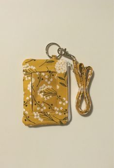 Cute Cars Accessories Discover Hand Made Lanyard With ID Wallet in Yellow and White Floral Print Lanyard Wallet, Lanyard Keychain, Key Wallet, Keychains, Cute Lanyards, Cute Car Accessories, Cute Backpacks, School Backpacks, Cute Cars