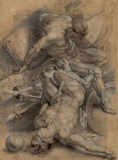 """Peter Paul Rubens (1577 – 1640) """"Two Prisoners Chained"""" 1600-1608"""