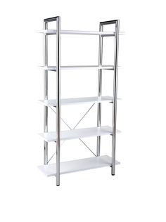 Eurø Style Laurence Leather upholstered 5-shelf Bookcase with Chromed Steel Frame, White