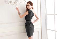Vogue Women's Elegance One Shoulder Nip Waisted Dress with Belt Sage
