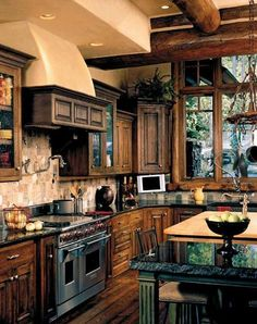 Rustic Kitchen Ideas - Rustic kitchen cupboard is a gorgeous mix of nation home and farmhouse design. Browse 30 ideas of rustic kitchen design right here Old World Kitchens, Home Kitchens, Luxury Kitchens, Home Design, Design Ideas, Interior Design, Timber House, Timber Windows, Large Windows