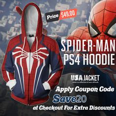Get ready to wear the Spider-Man Hoodie inspired to look accurate to the outfit of Spider-Man in the 2018 game. Shop this look now. Spider Man Ps4, Spiderman Hoodie, Cotton Viscose, Motorcycle Jacket, Attitude, Style Me, Ready To Wear, Superhero, Hoodies